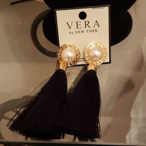 Vera by New York Black Tassel Earrings